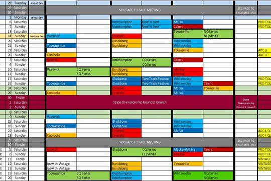 2017 Queensland Race Calendar updated Jan